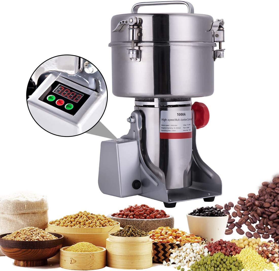 BI-DTOOL 1000g Electric Grain Mill Grinder 304 Stainless Steel Pulverizer Grinding Machine Commercial Corn Mill for Kitchen Herb Spice Pepper Coffee with LCD Digital Display