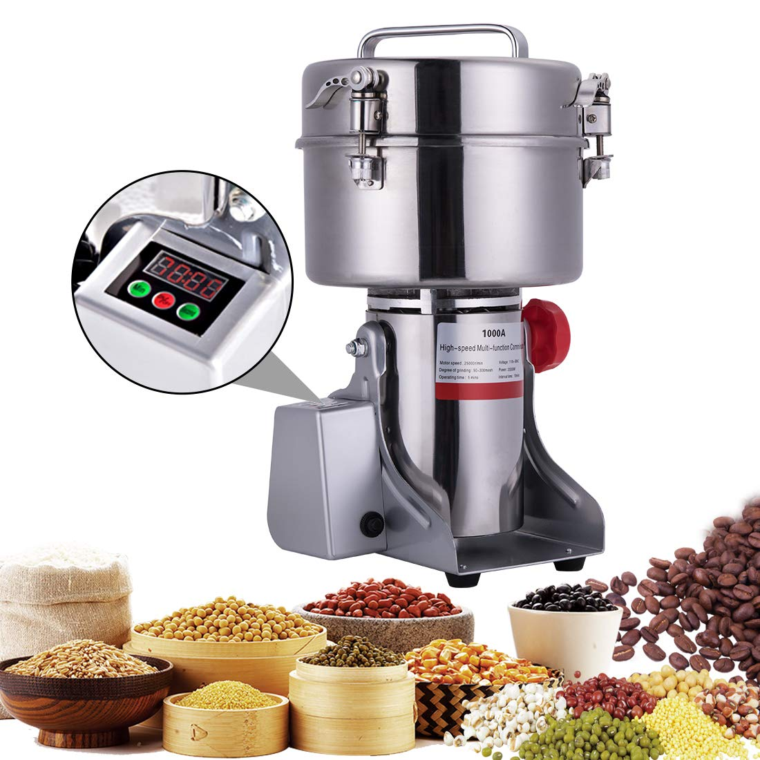 BI-DTOOL 1000G Electric Grain Grinder Stainless Steel Pulverizer Grinding Machine Commercial Cereals Grain Mill for Kitchen Herb Spice Pepper Coffee with LCD Digital Display by BI-DTOOL