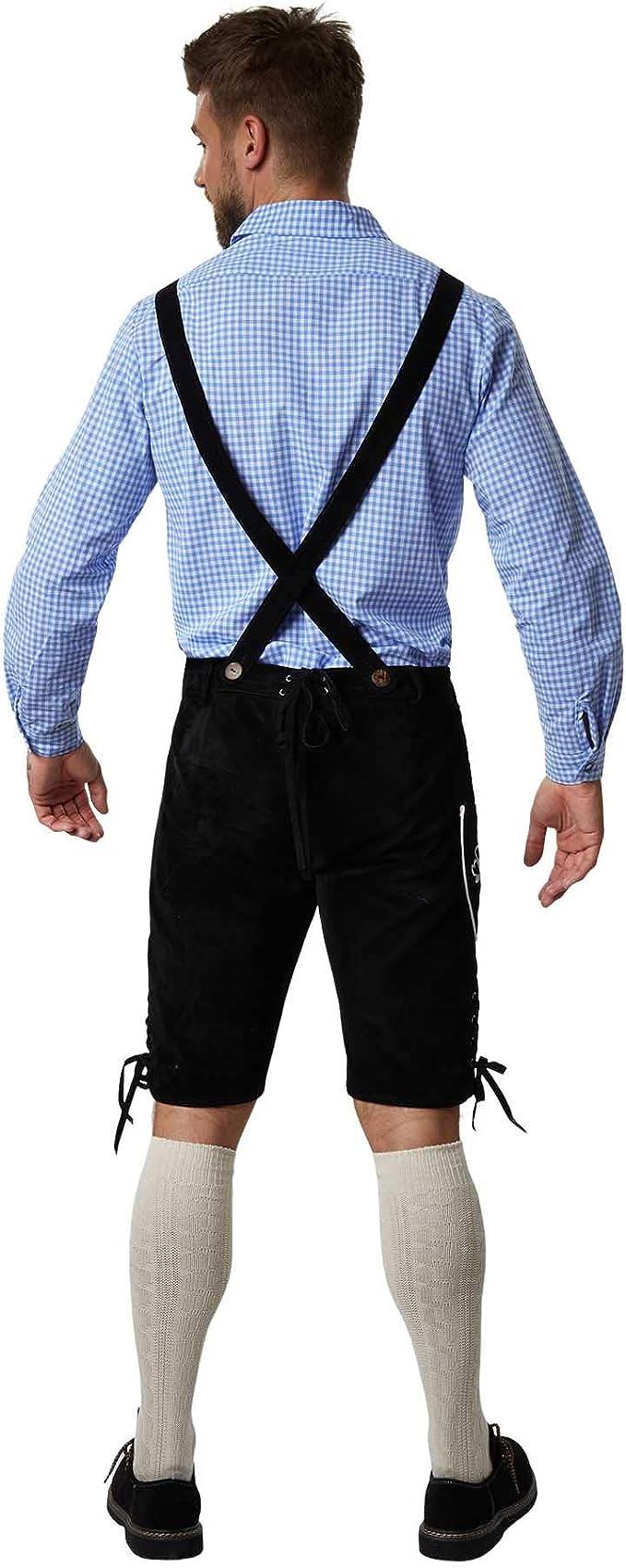 dressforfun 950004 Traje Regional Alemán para Hombre, Conjunto Tres Piezas, Pantalón Negro con Tirantes, Camisa Blanca Azul & Calcetines (Pantalón XL ...