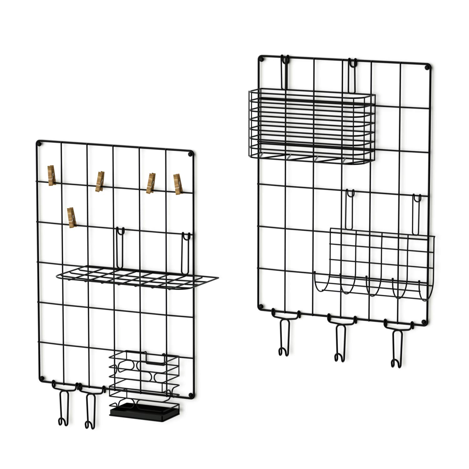 Love-KANKEI Wall Grid Panel Wire Grid Panel Set of 2 for Wall Decoration or Organization, 5 Hooks and 5 Clips 1 x Letter Frame, 1 x Hanging Basket, 1 x Pen Holder and 1 x Hanging net by Love-KANKEI