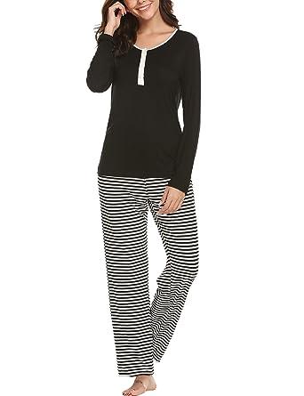887462da7f Ekouaer Pajama Set Women's Sleepwear Long Sleeve Top & Striped Lounge Pants  Pajamas 2 Piece PJ