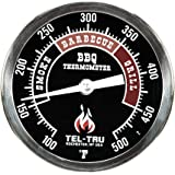 Tel-Tru BQ300 Barbecue Thermometer, 3 inch black dial with zones, 4 inch stem, 100/500 degrees F