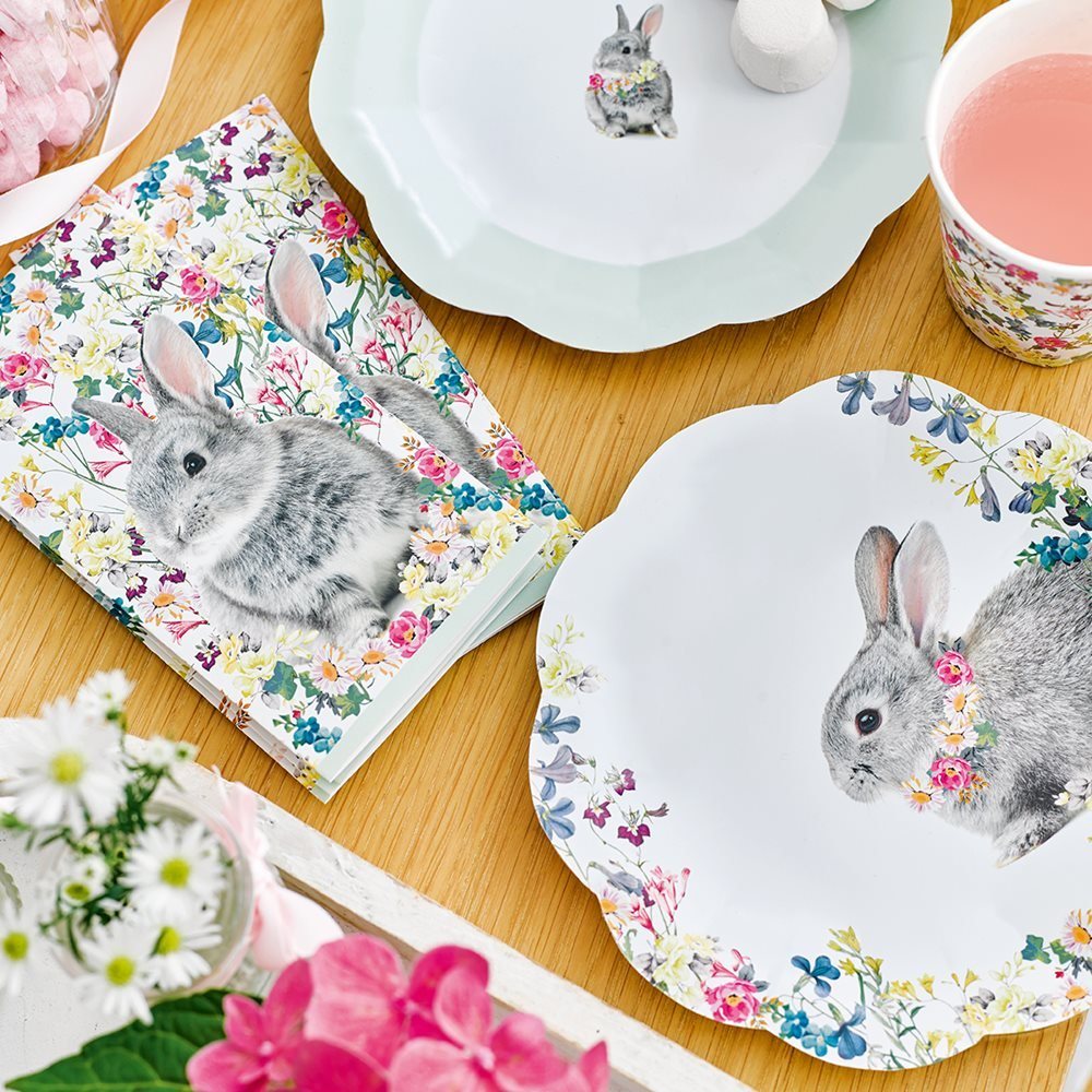 Talking Tables Truly Bunny Floral Rabbit Design Napkins for an Easter Celebration or Children's Party