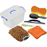 DEDC Car Wash Tool Kit Exterior and Interior Cleaning Tools in Box, Car Vent Brush Tire Brush Wash Mitt Sponge Wax Applicator Microfiber Cloths Window Water Blade 7pcs Coffee