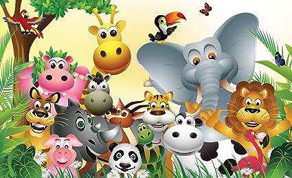 Animales De La Selva De Dibujos Animados Papel Tapiz Mural Amazon
