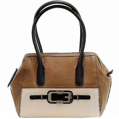 Guess Women s Jonsi VD438709 Frame Satchel Handbag (Brown Multi)  Handbags   Amazon.com 834f6fb500856
