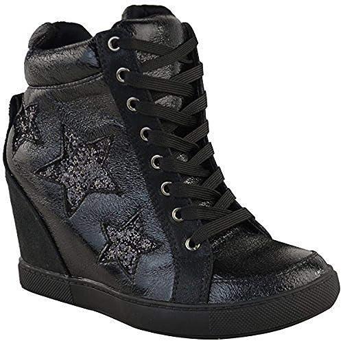 Fashion Thirsty Mujer Cuña Oculta Zapatillas con Cordones High Top Zapatillas Zapatos Brillantes Talla: Amazon.es: Zapatos y complementos