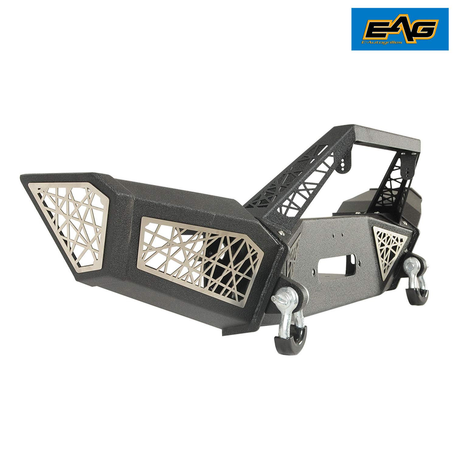 EAG Front Bumper Full Width Web with Winch Plate and D-rings Fit for 07-18 Jeep Wrangler JK