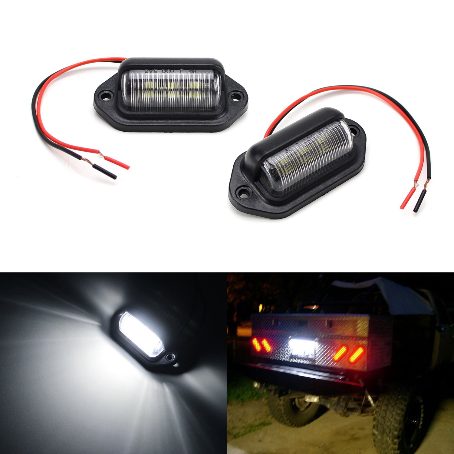 2 Dome//Cargo Lights or Under Hood Lights etc iJDMTOY Auto Accessories Universal Fit 12V DC Illumination Lamp 12V Add-On 6-SMD LED Lamps For Truck SUV Trailer Van As License Plate Lights Step Courtesy Lights iJDMTOY