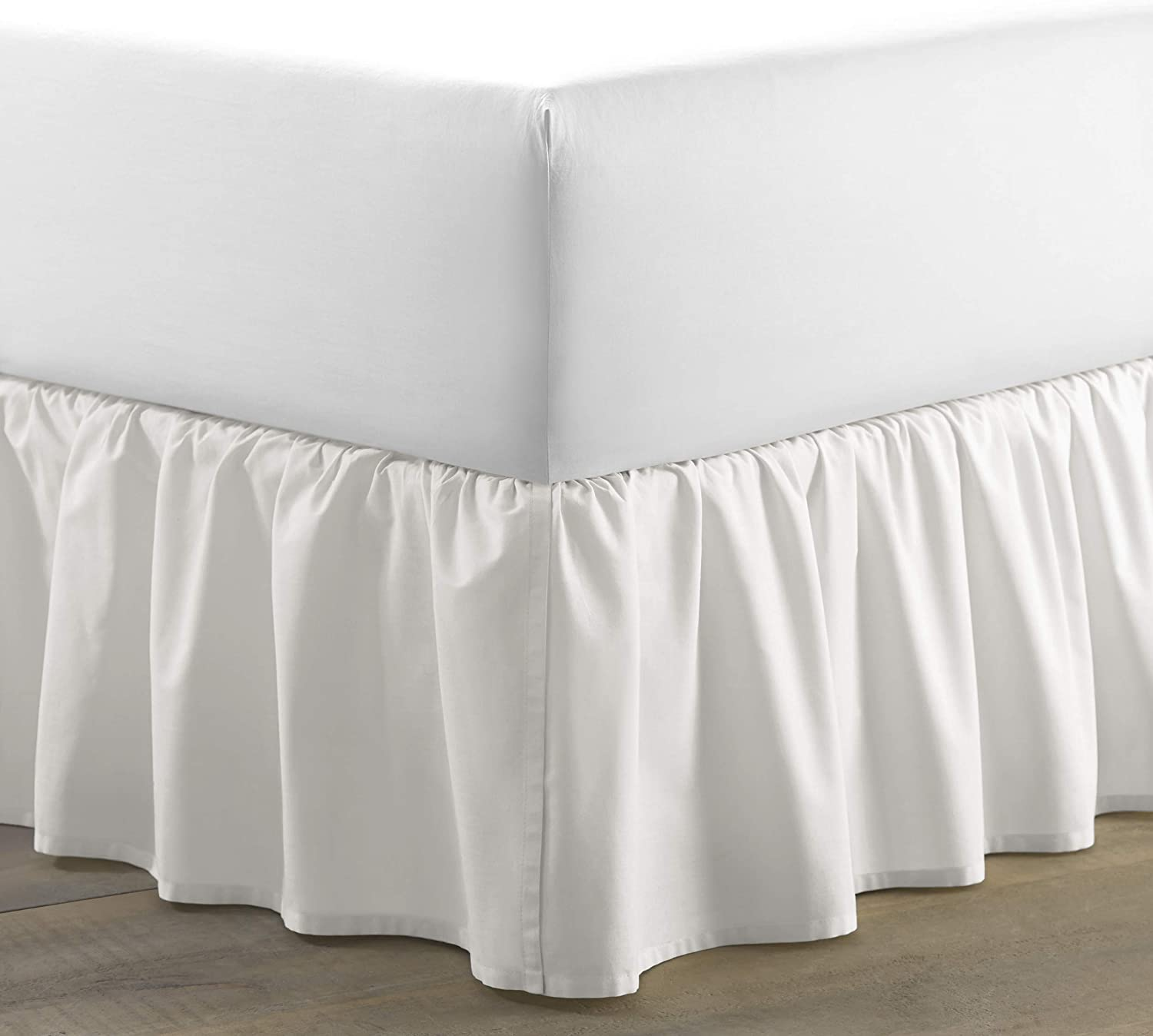 Laura Ashley Home   Solid Collection   Luxury Premium Hotel Quality Bedskirt, Easy Fit, Anti Wrinkle & Fade Resistant, Stylish Design for Home Décor, Twin, White