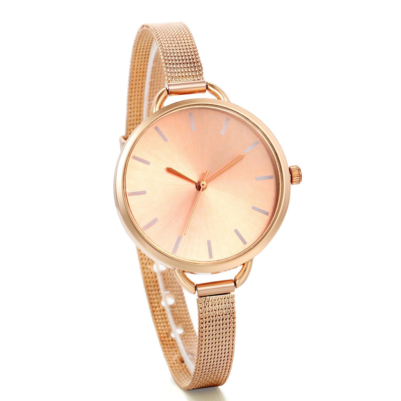 00c5d95b3d6d Amazon.com  JewelryWe Women Bracelet Watches Ultra Thin Dial Quartz Watch  Stainless Steel Strap Water Resistant Wrist Watch  Watches
