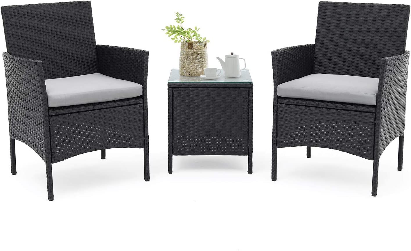 Suncrown 3 Piece Patio Bistro Set Outdoor Black Wicker Chairs Patio Furniture Set With Glass Table Grey Cushion Garden Outdoor