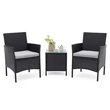amazon com suncrown outdoor bistro set 3 piece black wicker chairs rh amazon com black wicker patio furniture home depot black wicker patio furniture with red cushions