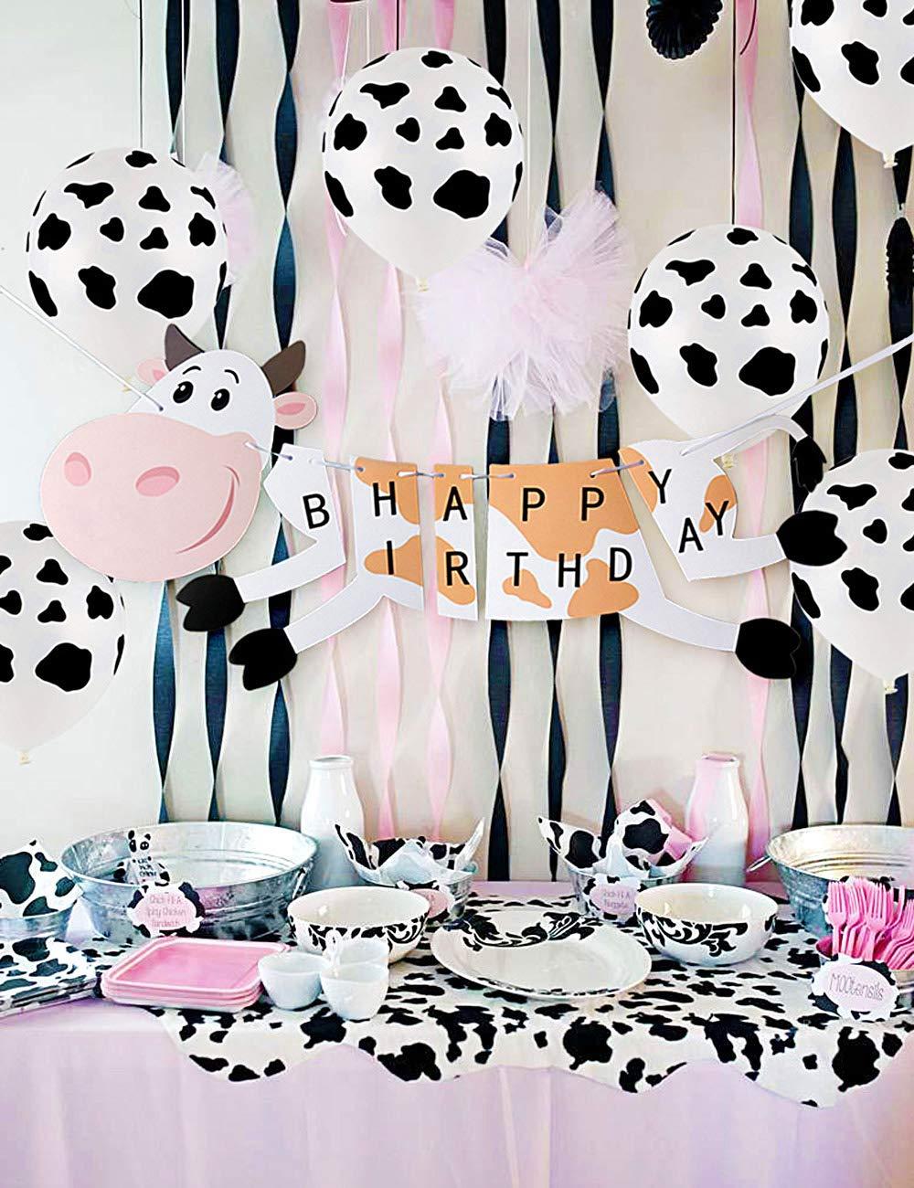 Decoración de cumpleaños de granja con pancartas de cumpleaños de vaca, globos de látex con estampado de vaca y globos de aluminio para la fiesta ...