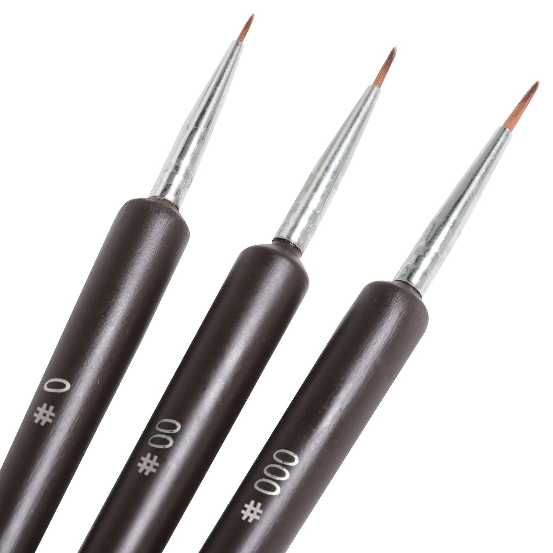 TRIXES 3 x Tiny Gel Acrylic Nail Art Tips Salon Drawing Pen Brush Painting Tool