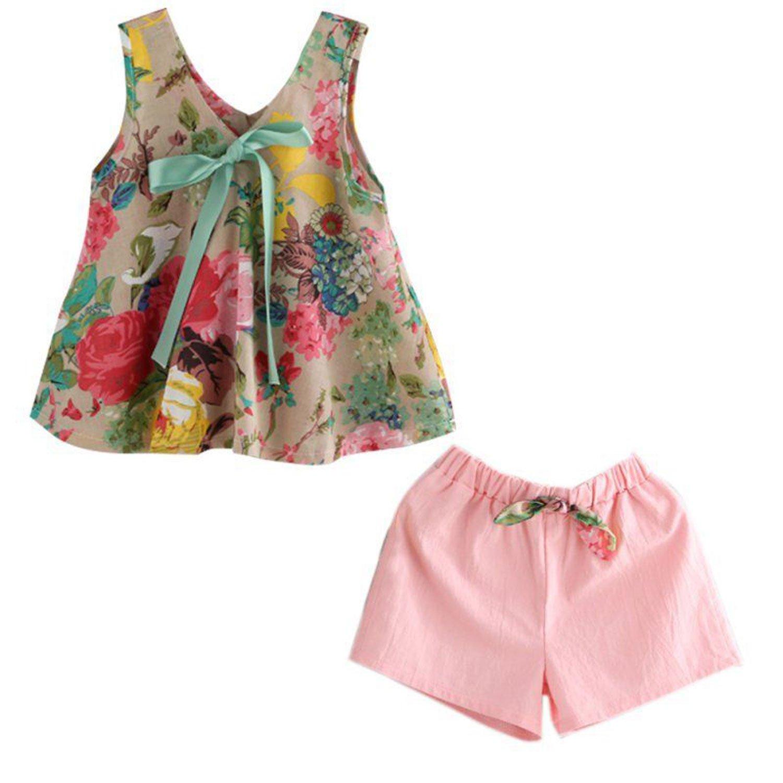 独特の素材 CAIBIET PANTS Floral PANTS ベビーガールズ 100(3-4 Years) Floral Vest Pants T-shirt Top +Shorts Pants B07D7TTVTQ, 姶良郡:a2e101b2 --- a0267596.xsph.ru