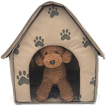 ZIME Casas para perros pequeñas, bonitas y divertidas con estampado de huellas pequeñas, cama