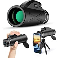 Monocular Telescope, 80x100 High Power Prism Monocular HD Dual Focus Scope Portable Waterproof Fogproof with Smartphone…