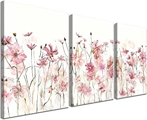 Gardenia Art Flower Wall Decor Large 3 Pieces Canvas Wall Art Decor for Bedroom Pink Flower Canvas Prints Modern Bathroom Office Living room Paintings Home Decorations Wooden Framed 16