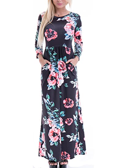 Women's Fashion Spring Floral Print Dress 3/4 Sleeve long Casual Maxi Dresses Zero Jorla (Black XXL)