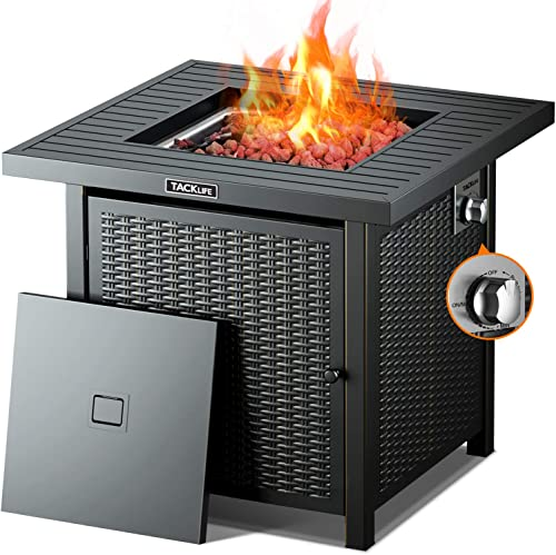 TACKLIFE Propane Fire Pit,Outdoor Companion,28 Inch 50,000 BTU Auto-Ignition Gas Fire Pit Table