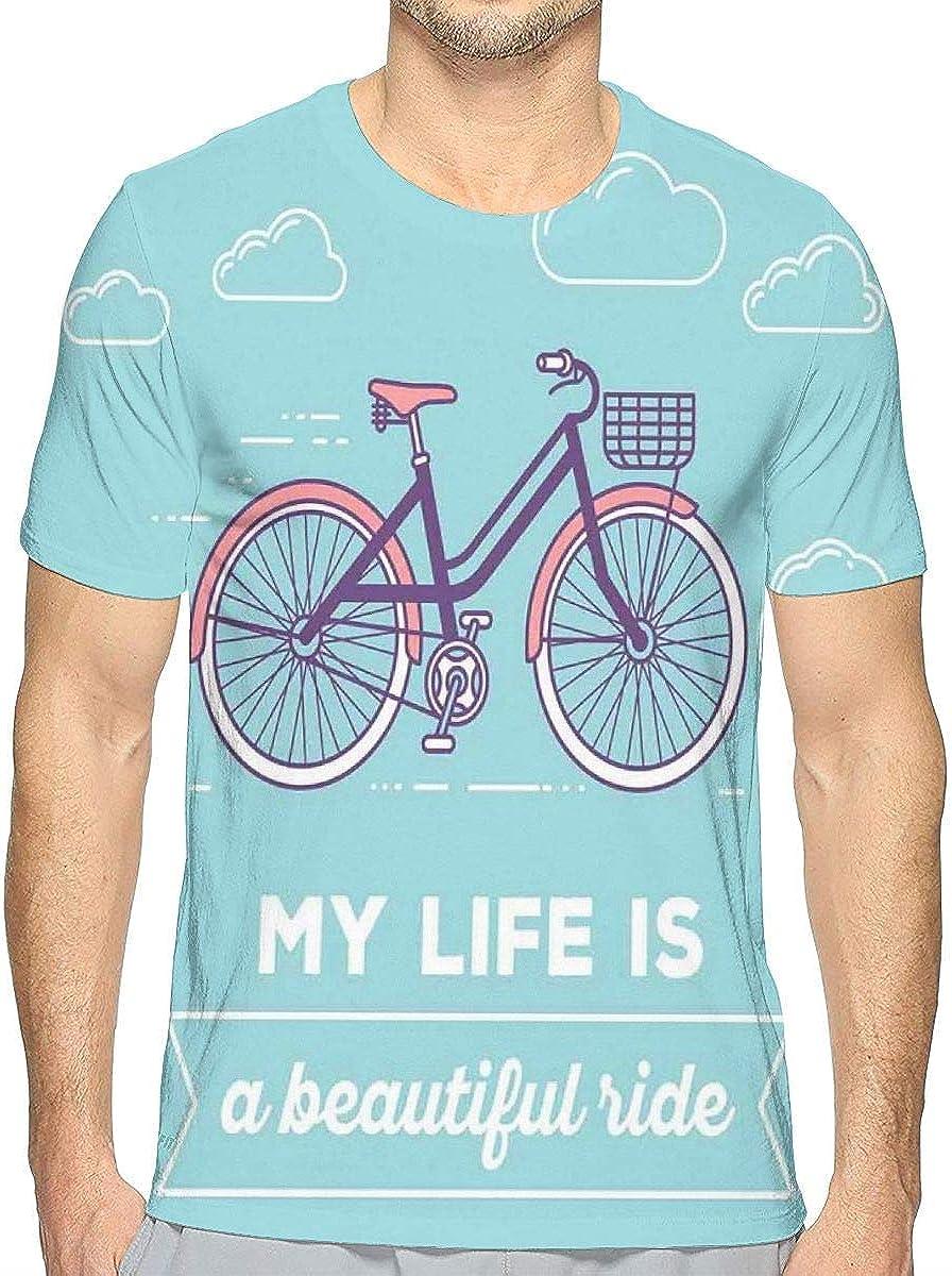 akingstore Las Camisetas Impresas en 3D, la Bicicleta en Colores Pastel Retro con la Cesta y el Texto mi Vida Son un Paseo Hermoso