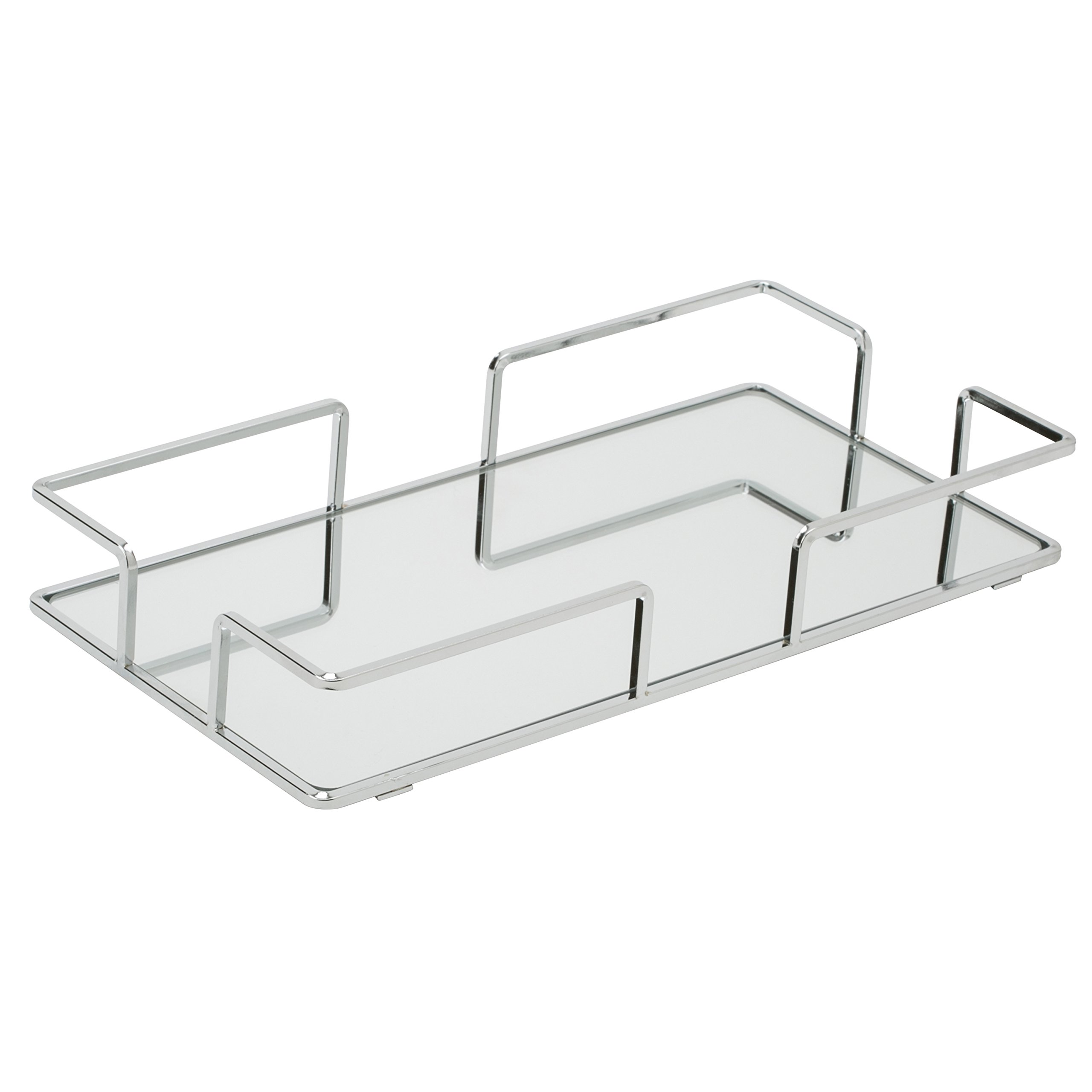 Home Details Mirrored Vanity Tray for Dresser, Perfume, Desk, Cosmetic & Jewelry Organizer, Decorative, Chrome by Home Details (Image #1)