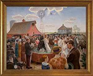 Berkin Arts John Steuart Curry Classic Framed Giclee Print On Canvas-Famous Paintings Fine Art Poster-Reproduction Wall Decor(Baptism in Kansas Whitney) #JK