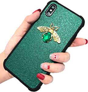 KERZZIL iPhone Xs/X Case, Shockproof Glitter Sparkle Bling 3D Diamond Matel Bee for Girls Women, Faux Leather Soft Bumper Protective Phone Case Cover Compatible for Apple iPhone Xs/X; [Green]