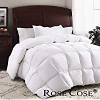 ROSECOSE Luxurious Goose Down Quilt Duvet Insert All Seasons Hypo-Allergenic 1200 Thread Count 750+ Fill Power 100% Cotton Shell Down Proof with Tabs