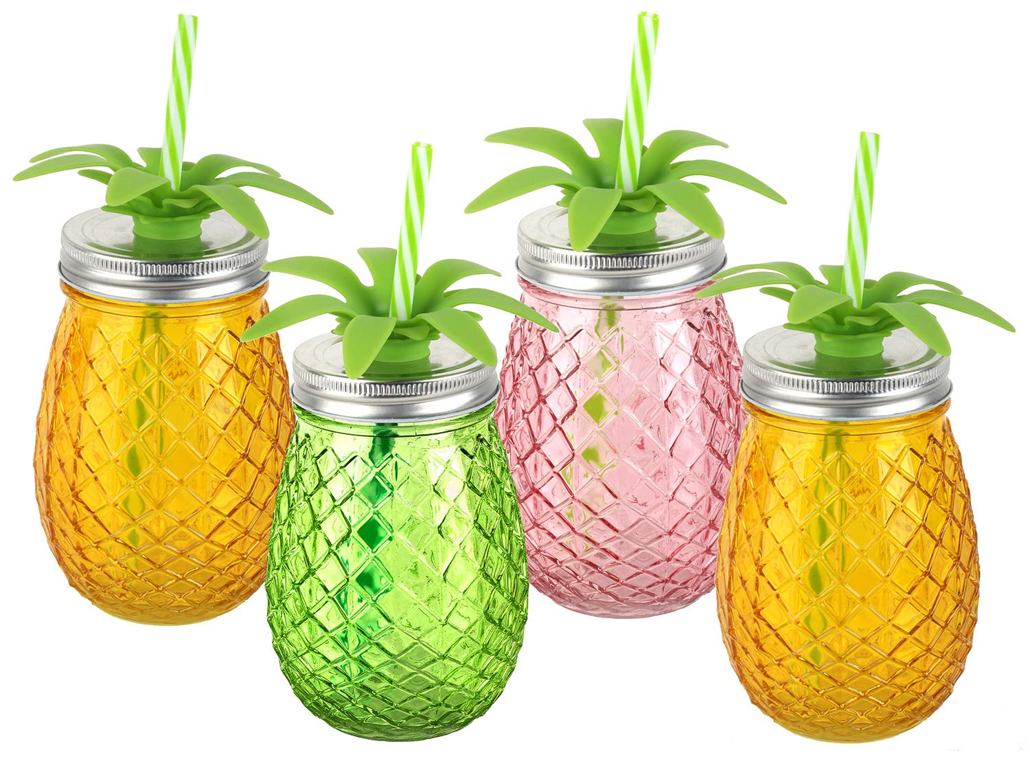 URBAN DEN | GLASS BEVERAGE DISPENSER | DRINK DISPENSER FOR PARTIES | 4 AND 5 PC SETS | 4PC PINEAPPLE CUP SET