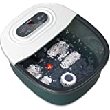 Foot Spa Bath Massager with Heat, Bubbles, Vibration and Red Light,4 Massage Roller Pedicure Foot Spa Tub for Feet Stress Rel
