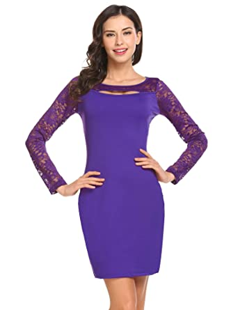 1406caf6bccd Dethler Women Elegant Long Sleeve Cut Out Lace Patchwork Office Work  Business Mini Dress Purple S
