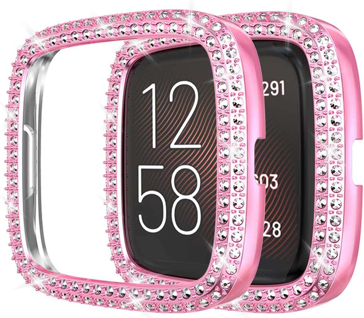Bling Double Row Crystal Diamonds Shiny Rhinestone Bumper Face Cover PC Plated Bumper Protective Frame for Versa 2 Black Compatible with Fitbit Versa 2 Protector Case
