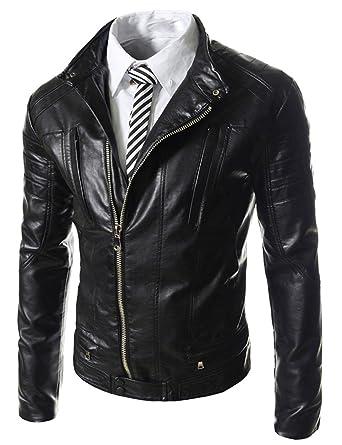 523cdc3b00a HugMe.fashion High Quality Leather Custom Patterned Slim Fit Biker Jacket  for Men JK110 (