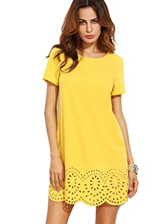95eed08738e7 SheIn Women's Crew Neck Short Sleeve Hollow Shift Dress: Amazon.in:  Clothing & Accessories