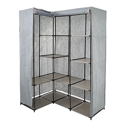 karmas product portable non woven fabric corner wardrobe closet double rod garment rack organizer with - Corner Wardrobe Closet