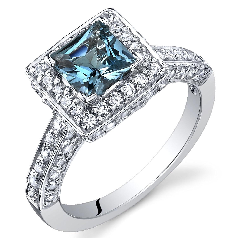 amazoncom london blue topaz princess halo ring sterling silver rhodium nickel finish 100 carats sizes 5 to 9 jewelry