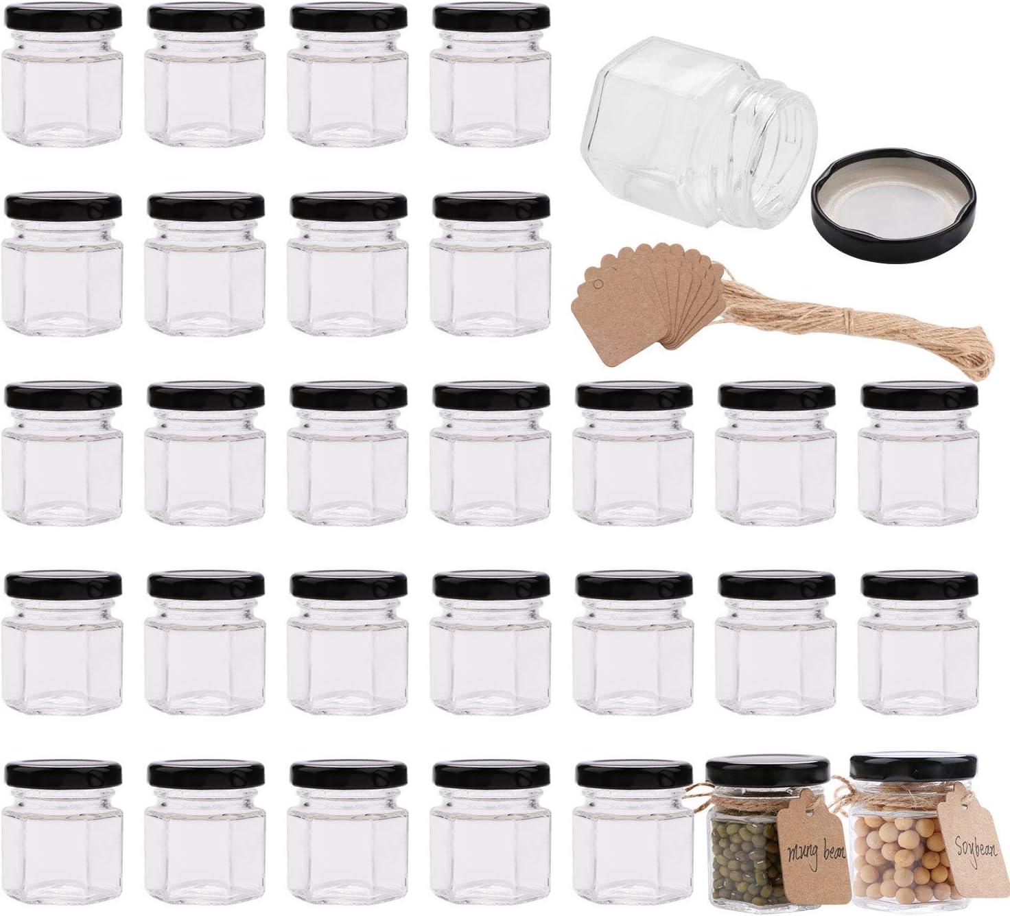 Encheng 1.5 oz Clear Hexagon Jars,Small Glass Jars With Lids(black),Mason Jars For Herbs,Foods,Jams,Liquid,Mini Spice Jars For Storage 30 Pack …