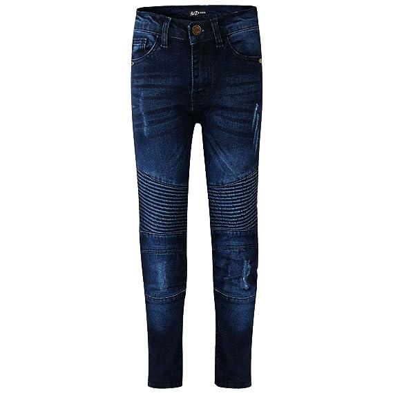 72ec90c5b2 Kids Boys Stretchy Jeans Dark Blue Ripped Drape Panel Denim Pants Trouser  5-13Yr