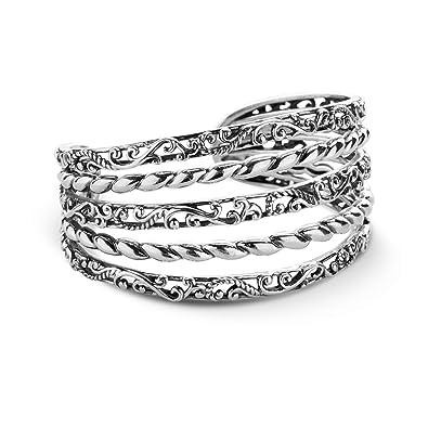 53feeea310b Amazon.com: Carolyn Pollack Sterling Silver Five Row Cuff Bracelet ...