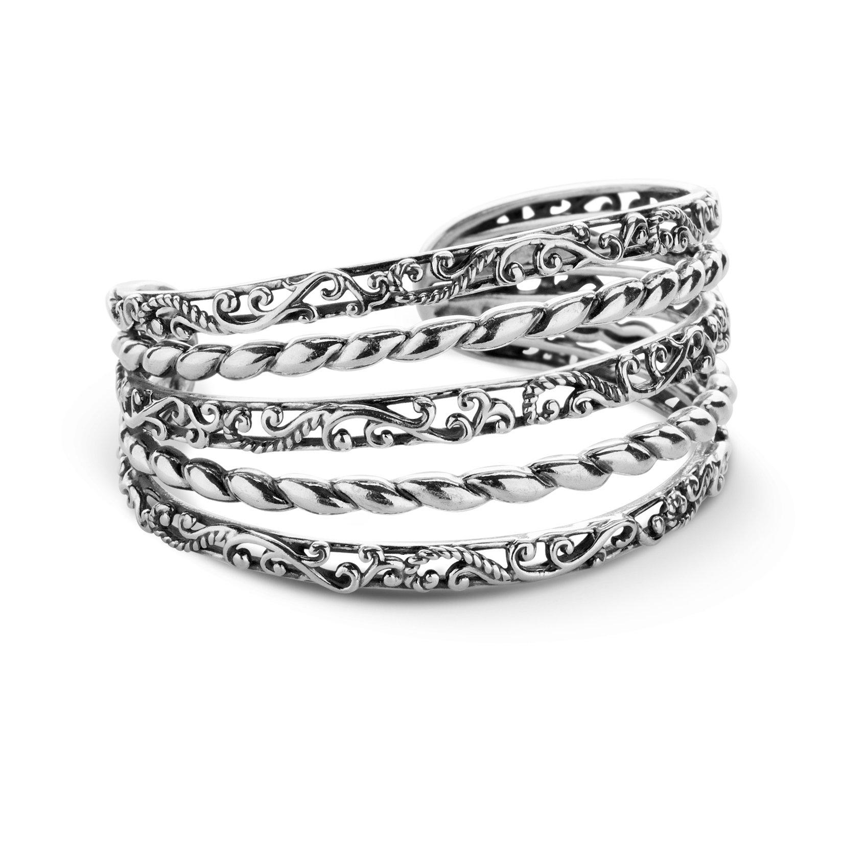 Carolyn Pollack Signature Genuine .925 Sterling Silver Five Row Cuff Bracelet