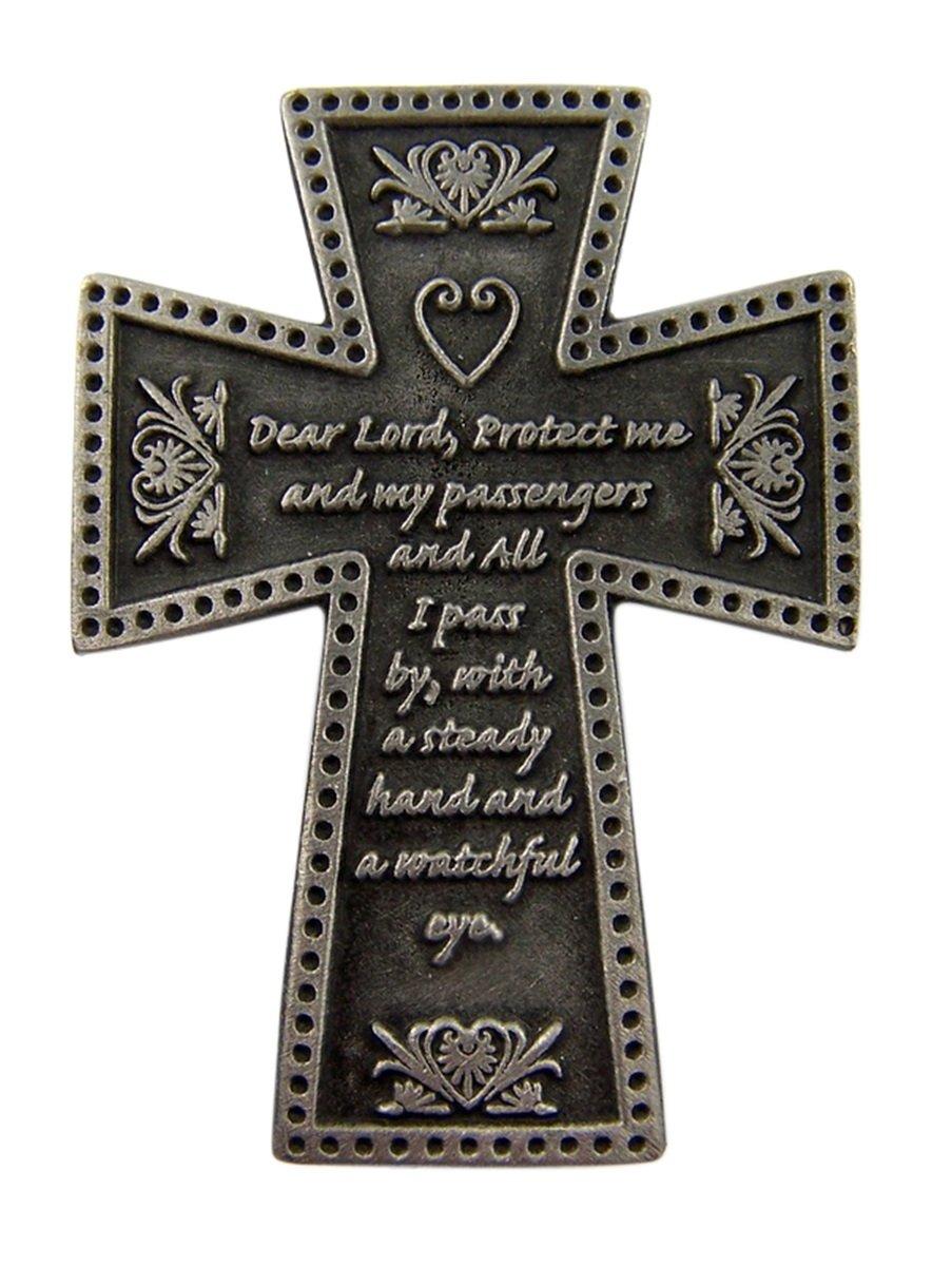 Fine Pewter Catholic Motorist Prayer Cross Auto Visor Clip, 2 1/4 Inch Singer Co