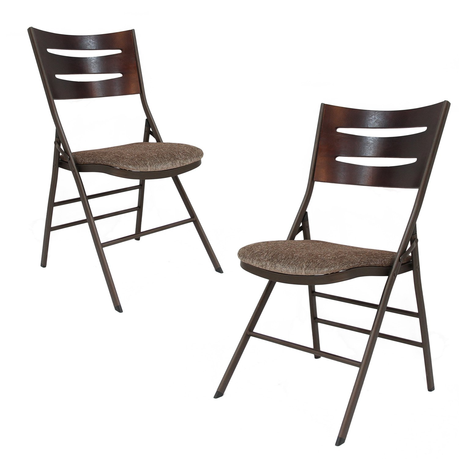 Adeco Powder Coated Steel Portable Folding Chair - Brown - Seat Height 18 Inch - Set of 2