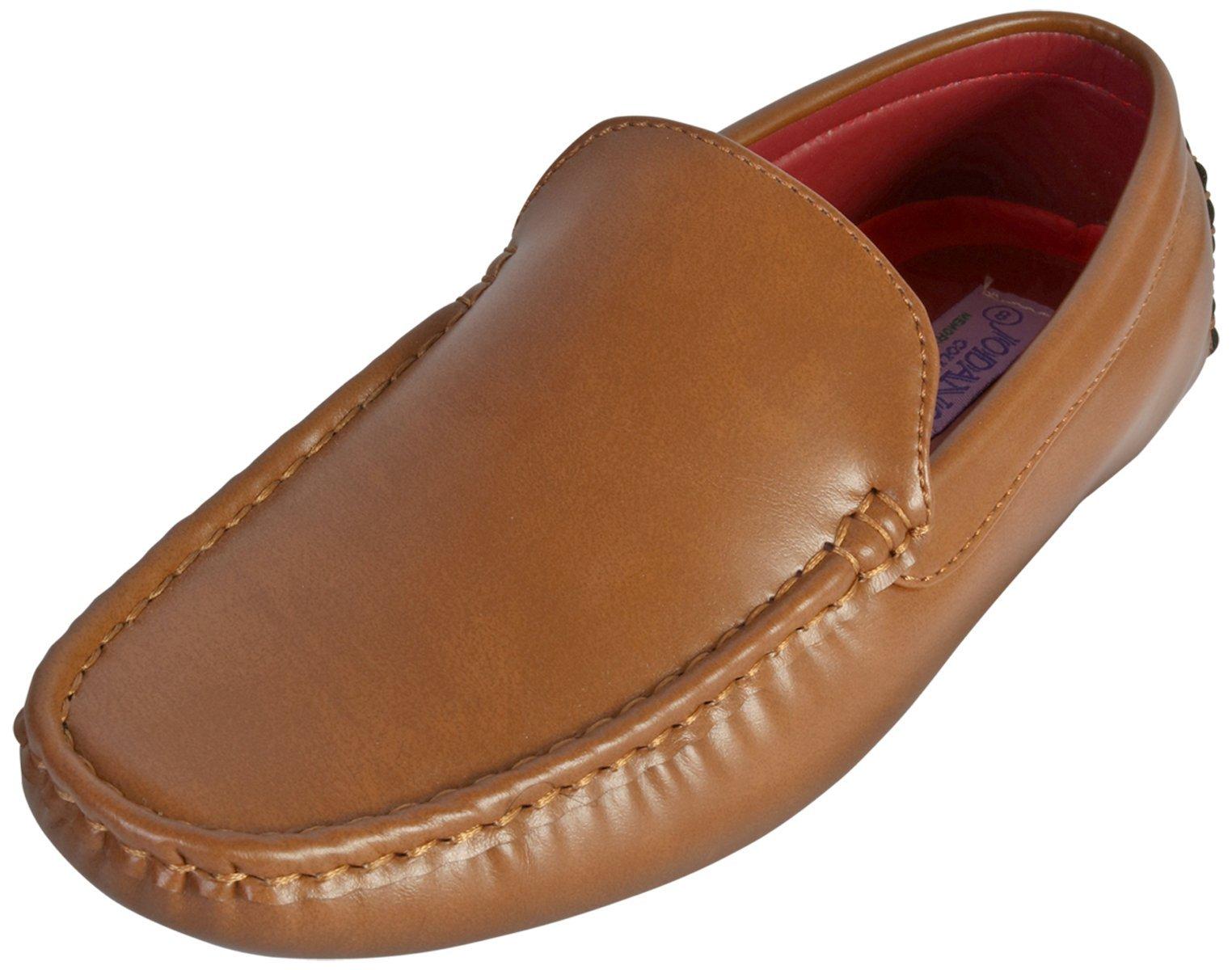 Jodano Collection Boys Classic Slip On Loafer Shoe, Tan, 4 M US Big Kid'