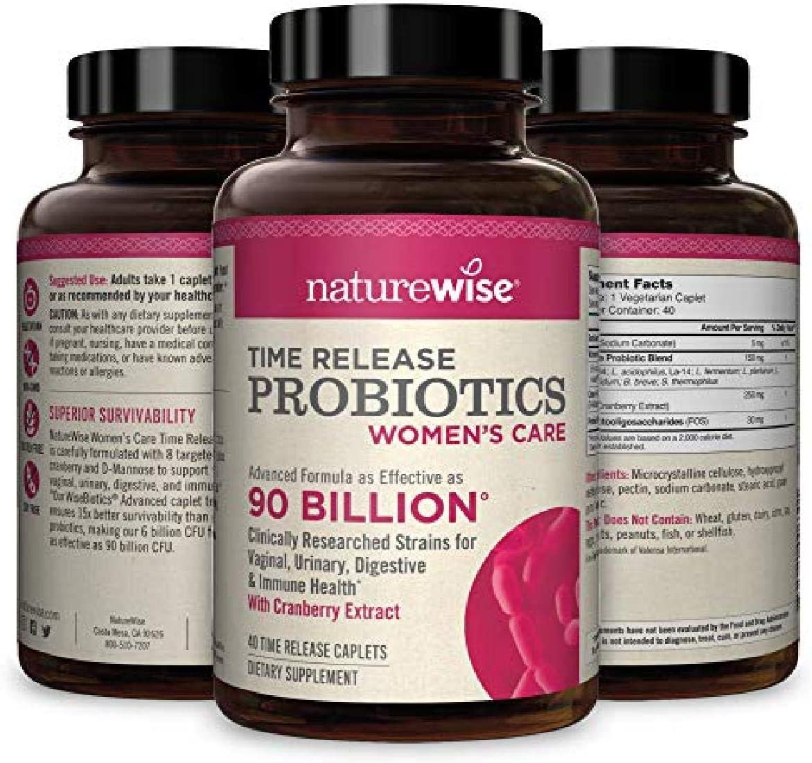 Amazon.com: NatureWise Probiotics for Women | Time-Release Probiotic  Supplement Comparable to 90 Billion CFU | Cranberry & D Mannose for  Vaginal, Urinary, Digestive & Immune Health (Packaging May Vary) [1 Month]:  Health