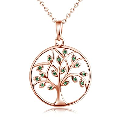 YL Tree of Life Necklace Earrings-Women s 925 Sterling Silver with White  Gold Rose Gold Plated Family Tree Pendant Jewelry for Women  Girlfriend a3f7e18c270c