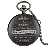 Engraved Pocket Watch, Grandson Gifts, Personalized Watch Pocket,