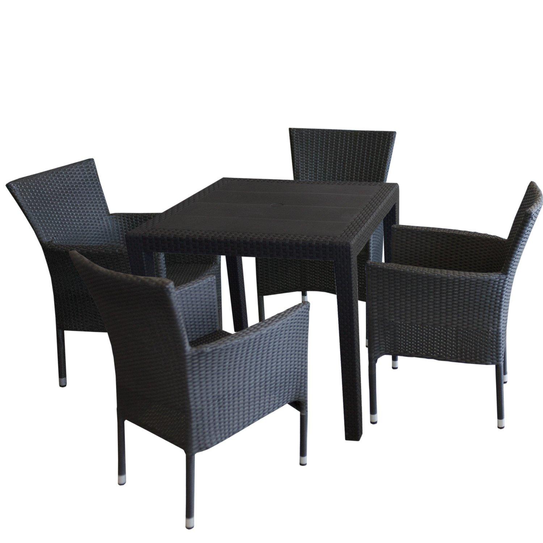 5tlg gartengarnitur gartentisch rattan optik kunststoff 79x79cm 4x stapelbare polyrattan. Black Bedroom Furniture Sets. Home Design Ideas