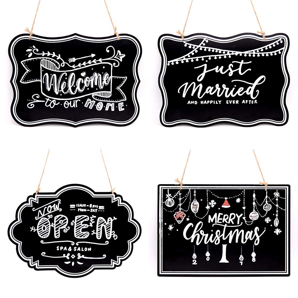 UNIQOOO 10x14 inch Hanging Decorative Chalkboard Sign, Double-Sided Non Porous Wooden Signage Message Board Home Welcome Signs, Perfect for Wedding Cafe Kids Doodling Back to School Supplies, Set of 4 by UNIQOOO